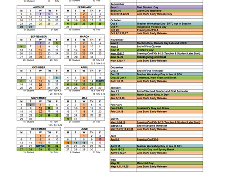 2021-2022 Approved School Calendar