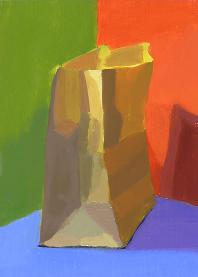 Painting of a paper bag on Red, Green, and Blue background