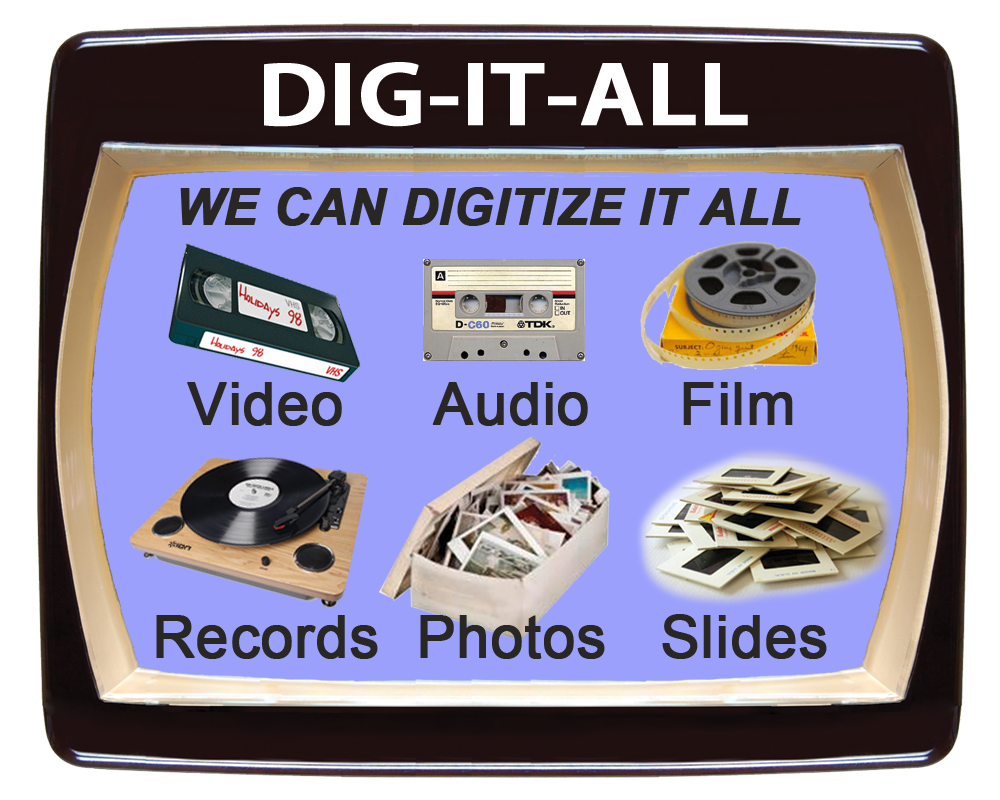 Convert video, audio, film records, photos and slides to digital