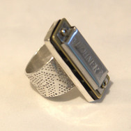 Ring with Playable Harmonica