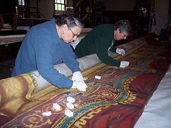 Volunteers Using Dry Sponges