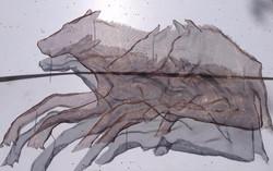 wire mesh sculpture wolves