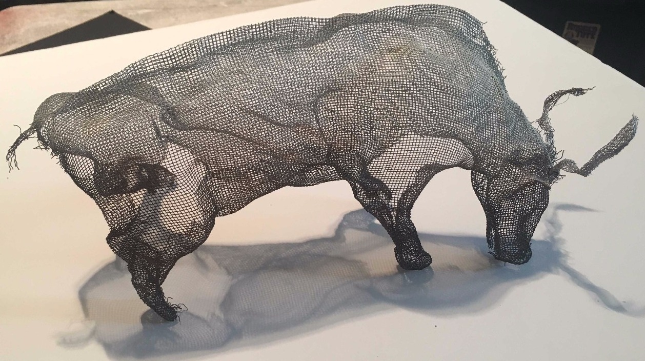 wire mesh art water buffalo