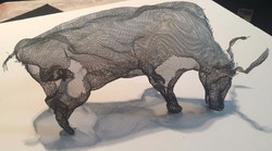 wire mesh art water buffalo
