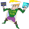 videosyncracites scan man cartoon character holding photos, slides and jpeg