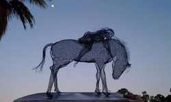 wire mesh sculpture horse