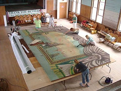 Working on the Grand Drape at the Bethel, VT, Town Hall