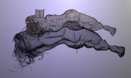 wire mesh art reclining studies