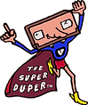 "videosyncracies ""the super duper"" cartoon character"