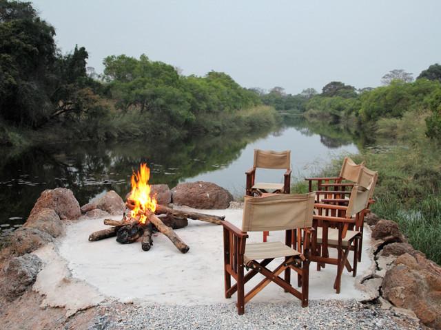 Lushimba Lodge's fireplace