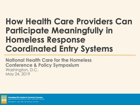 Coordinated Entry for Health Care Providers