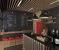 проект кофейни CoffeeCube в помещении -