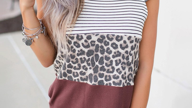 Striped leopard print casual tshirt