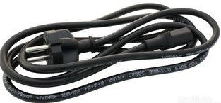 Euro IEC C13 Mains Cable, Black, 1.8M