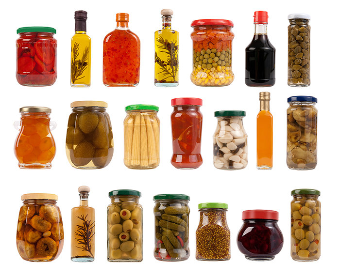 Jars and Bottles with Pickles