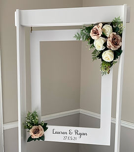 Giant personalised photo frame hired for a wedding at the Elfordleigh.