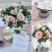 Fresh flower centrepieces available for hire for weddings in Devon & Torbay. Pictured at Rockbeare Manor.