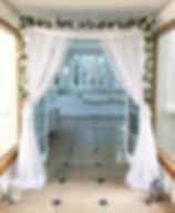 Doorway drapes hired for a wedding at Rockbeare Manor, Devon.