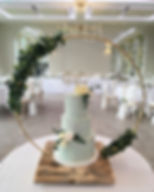 Gold hoop cake stand hired for a wedding at Deer Park Country House, Devon.