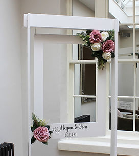 Giant personalised photo frame hired for a wedding at Rockbeare Manor, Exeter.