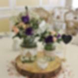 Wedding centrepieces at Buckland Tout Saints.