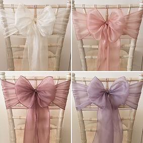 Chair sash hire for weddings in Devon and Torbay.
