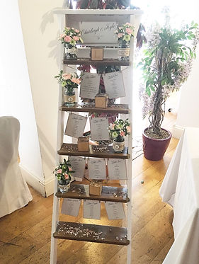 Step ladder table plan available for hire for weddings in Devon and Torbay.