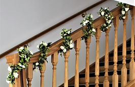 Staircase garland hired for a wedding at the Kingston Estate.
