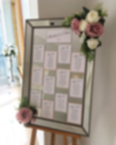 Mirror table plan at a wedding at Rockbeare Manor.