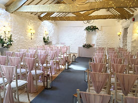Chair drapes hired for a wedding at the Bickley Mill, Devon.