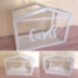 Clear card box available for hire for weddinds in Devon.