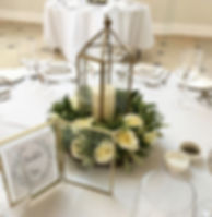 Brass lantern table centrepieces available for hire for weddings in Devon and Torbay. Pictured at Rockbeare Manor, Exeter.