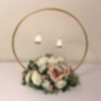 Gold hoop table centrepieces available for hire for weddings in Devon & Torbay.