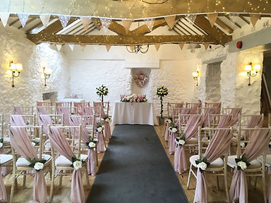 Bunting hired for a wedding at the Bickley Mill Inn, Devon.