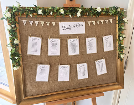Mirror table plan available for hire for weddings in Devon and Torbay. Pictured at Rockbeare Manor.