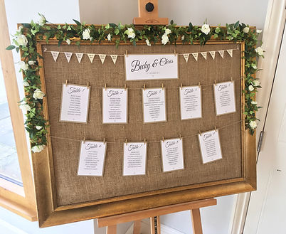Wedding table plan available for hire for weddings in Devon and Torbay. Pictured at Rockbeare Manor.