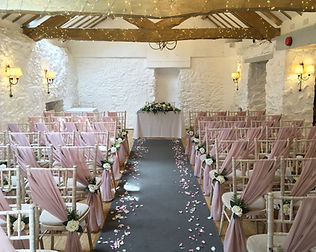 Chiffon chair drapes hired for a wedding at the Bickley Mill Inn.