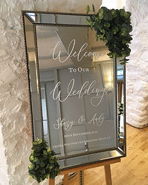 Welcome mirror hired for a wedding at the Bickley Mill.