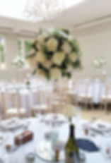Wedding centrepieces at Rockbeare Manor, Exeter.