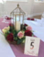 Elegant centrepieces at Rockbeare Manor.