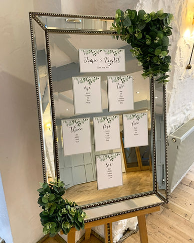 Wedding table plan available for hire for weddings in Devon and Torbay. Pictured at the Bickley Mill.