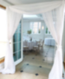 Doorway drapes hired for a wedding at Rockbeare Manor, Exeter.