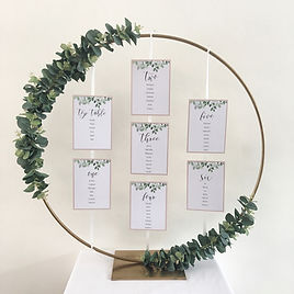 Hoop table plan available for hire for weddings in Devon.