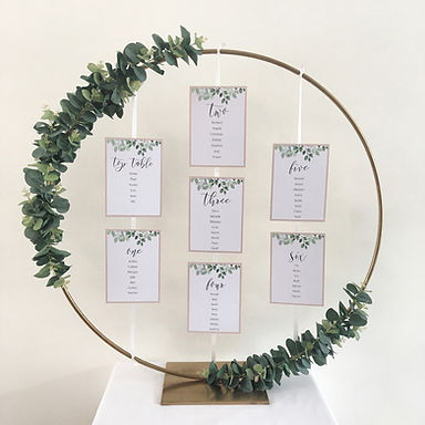 Gold hoop table plan available for hire for weddings in Devon and Torbay.