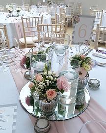 Wedding centrepieces at Rockbeare Manor.
