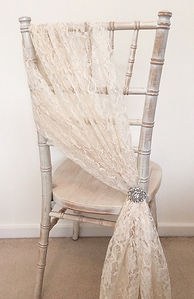 Lace chair drape hire for weddings in Devon and Torbay.