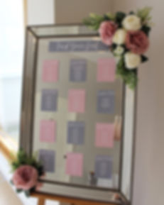 Large mirror hired for a table plan for a wedding at Rockbeare Manor, Exeter.