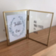 Brass table number frames available for hire for weddings in Devon and Torbay.