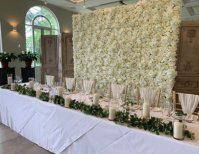 Eucalyptus table centrepiece created for a wedding at Deer Park Country House.