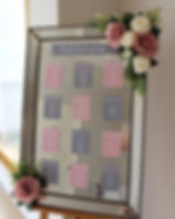 Table plan mirror at a wedding at Rockbeare Manor, Exeter.